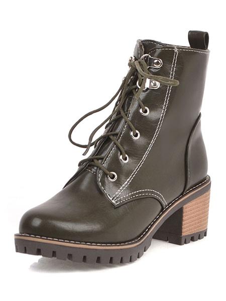 Milanoo Women Ankle Boots Round Toe 2.4 Chunky Heel Martin Boots