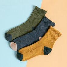 3 Paare Maenner Socken mit Farbblock