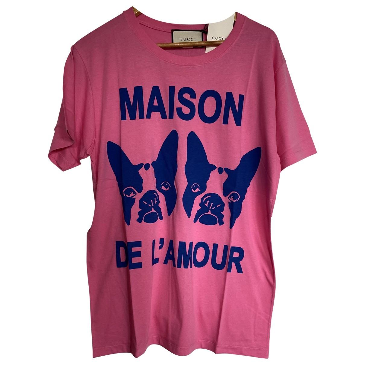 Gucci - Tee shirts   pour homme en coton - rose