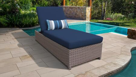 Monterey Collection MONTEREY-W-1x-NAVY Wicker Patio Chaise with Wheels - Beige and Navy