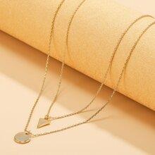 2 Stuecke Halskette mit geometrischem Anhaenger