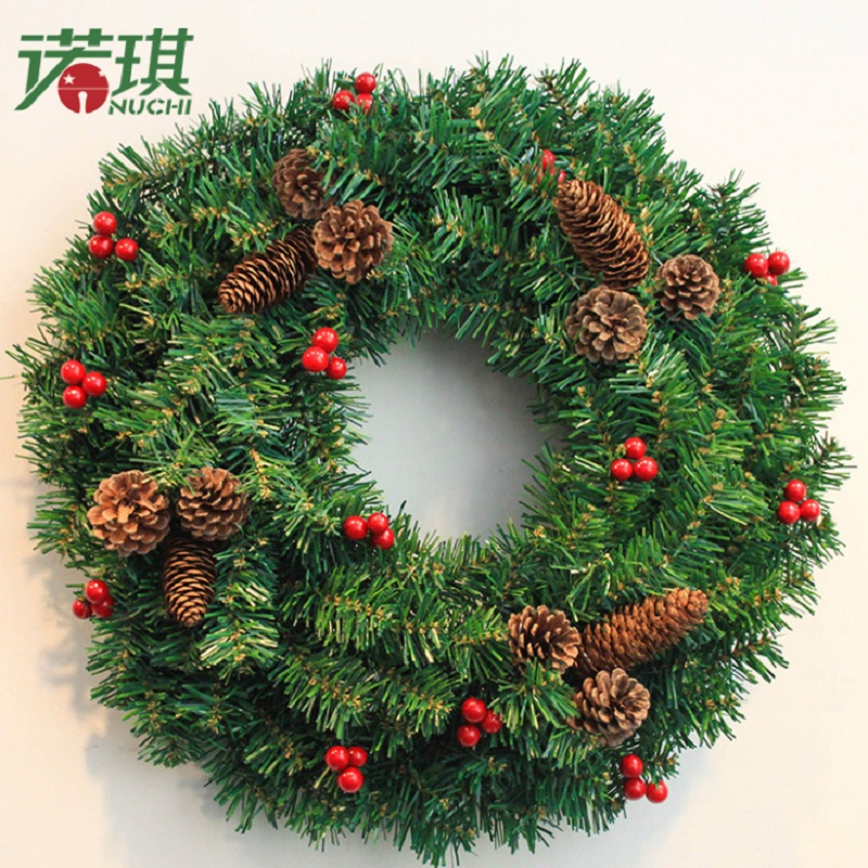 Bright Green Wreath with Brown Pines Christmas Door and Trees Decorations Festival Home Decor