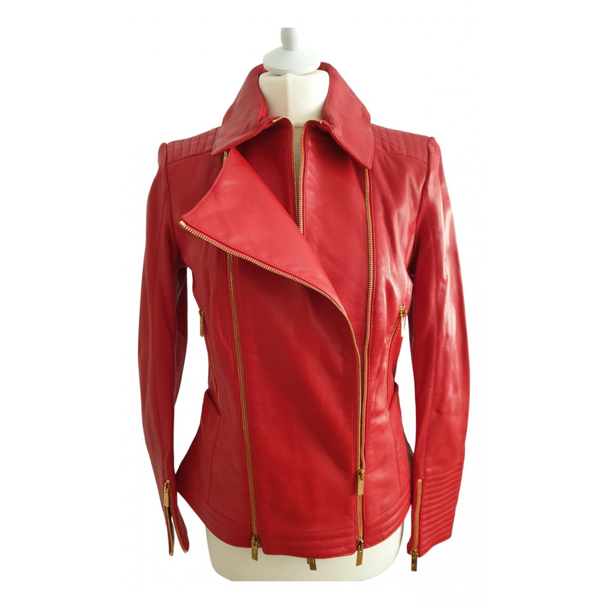 Blumarine \N Red Leather jacket for Women 44 IT