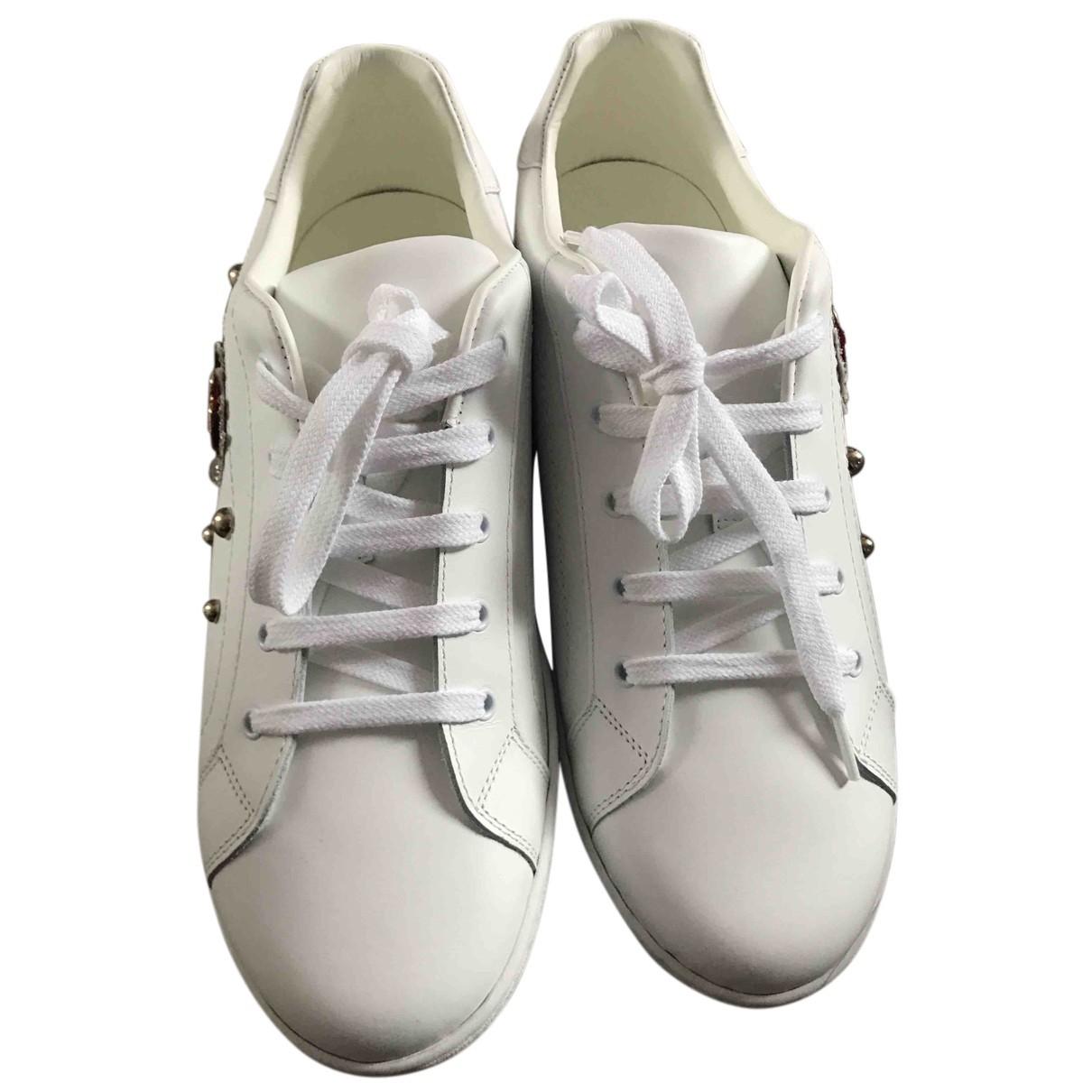 D&g - Baskets   pour femme en cuir - blanc
