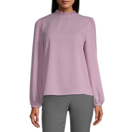 Worthington Womens High Neck Long Sleeve Blouse, Medium , Pink