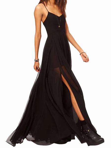 Milanoo Vestido largo negro  Moda Mujer sin mangas de chifon Vestidos con abertura lateral Color liso muy escotado por detras con tirantes sexy Verano