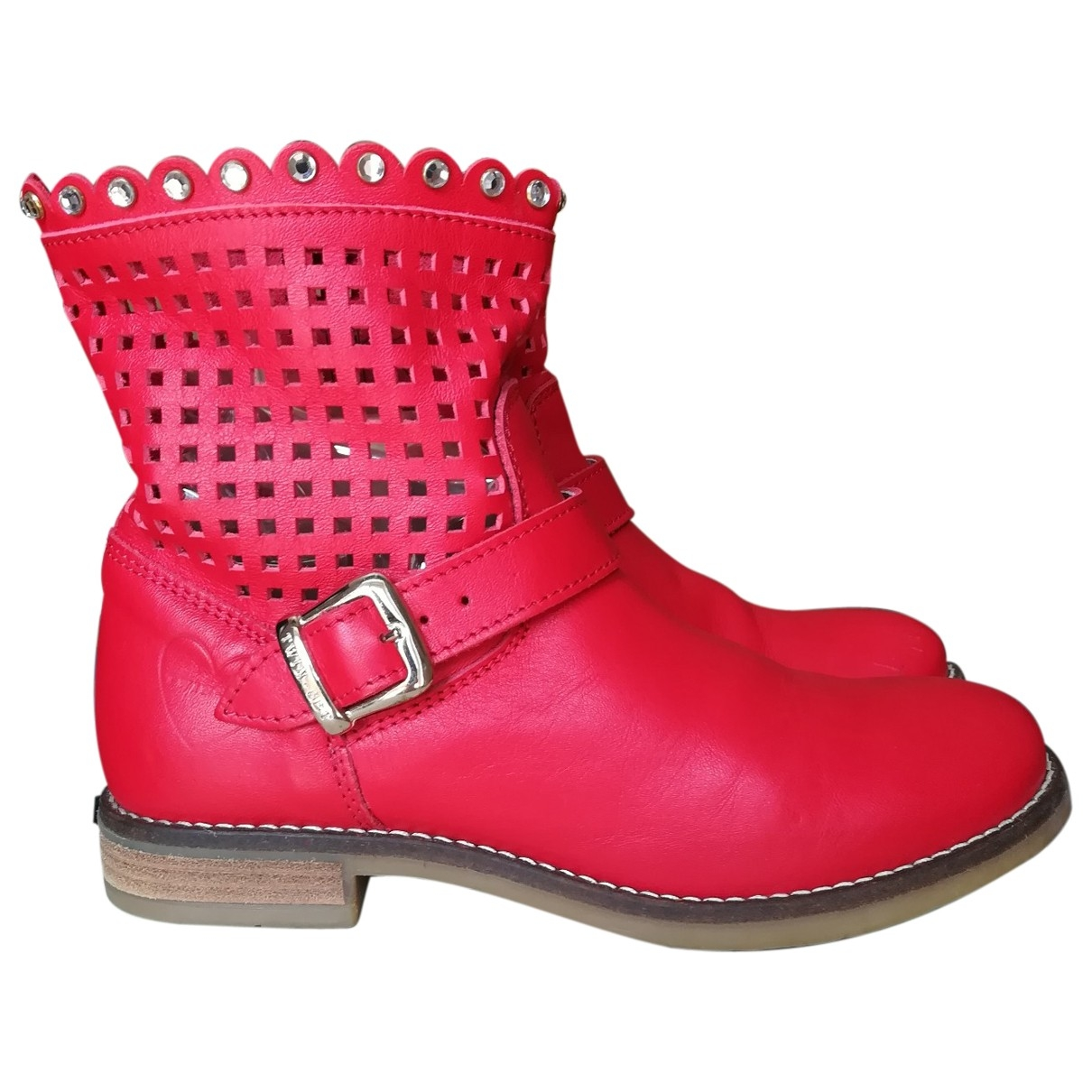 Twin Set \N Red Leather Boots for Kids 35 EU