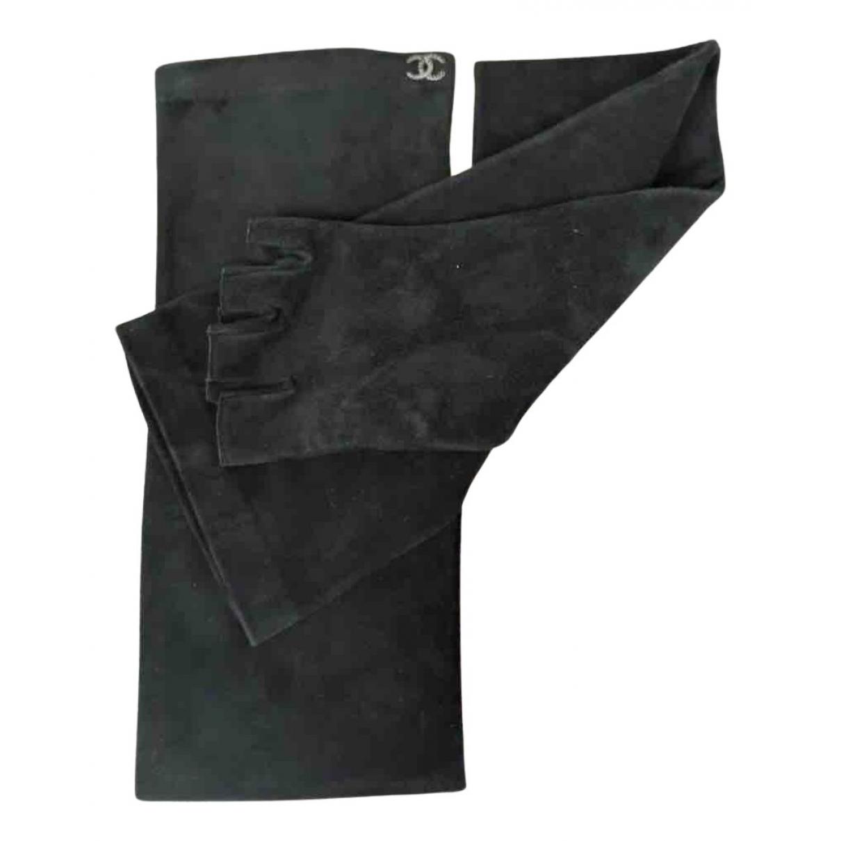 Chanel \N Handschuhe in  Schwarz Veloursleder