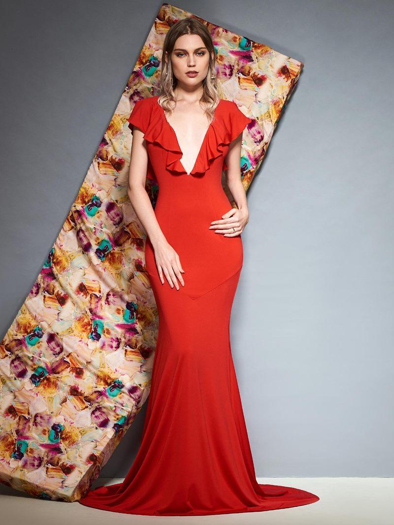 Ericdress Mermaid Ruffles V-Neck Red Evening Dress