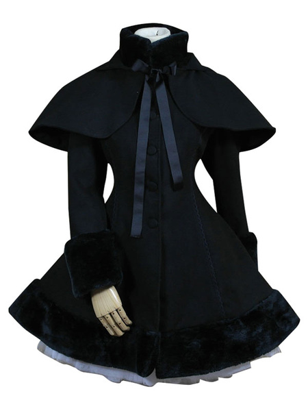 Milanoo Gothic Lolita Outfits Wool Black Ribbons Hooded Cape With Winter Coat