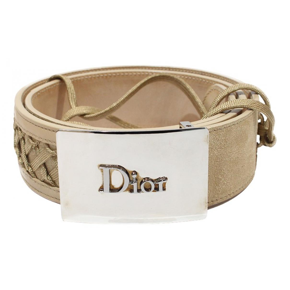 Dior \N Guertel in  Beige Veloursleder