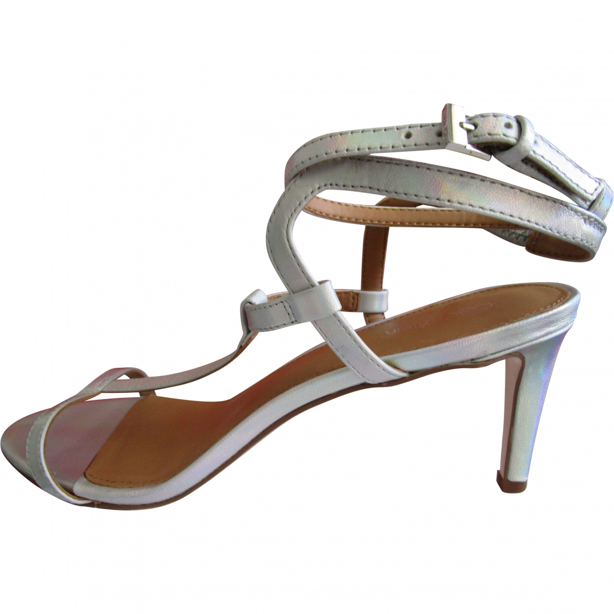Calvin Klein \N Silver Leather Sandals for Women 40 EU