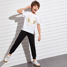 Conjunto top con estampado de slogan y dibujo con pantalones deportivos