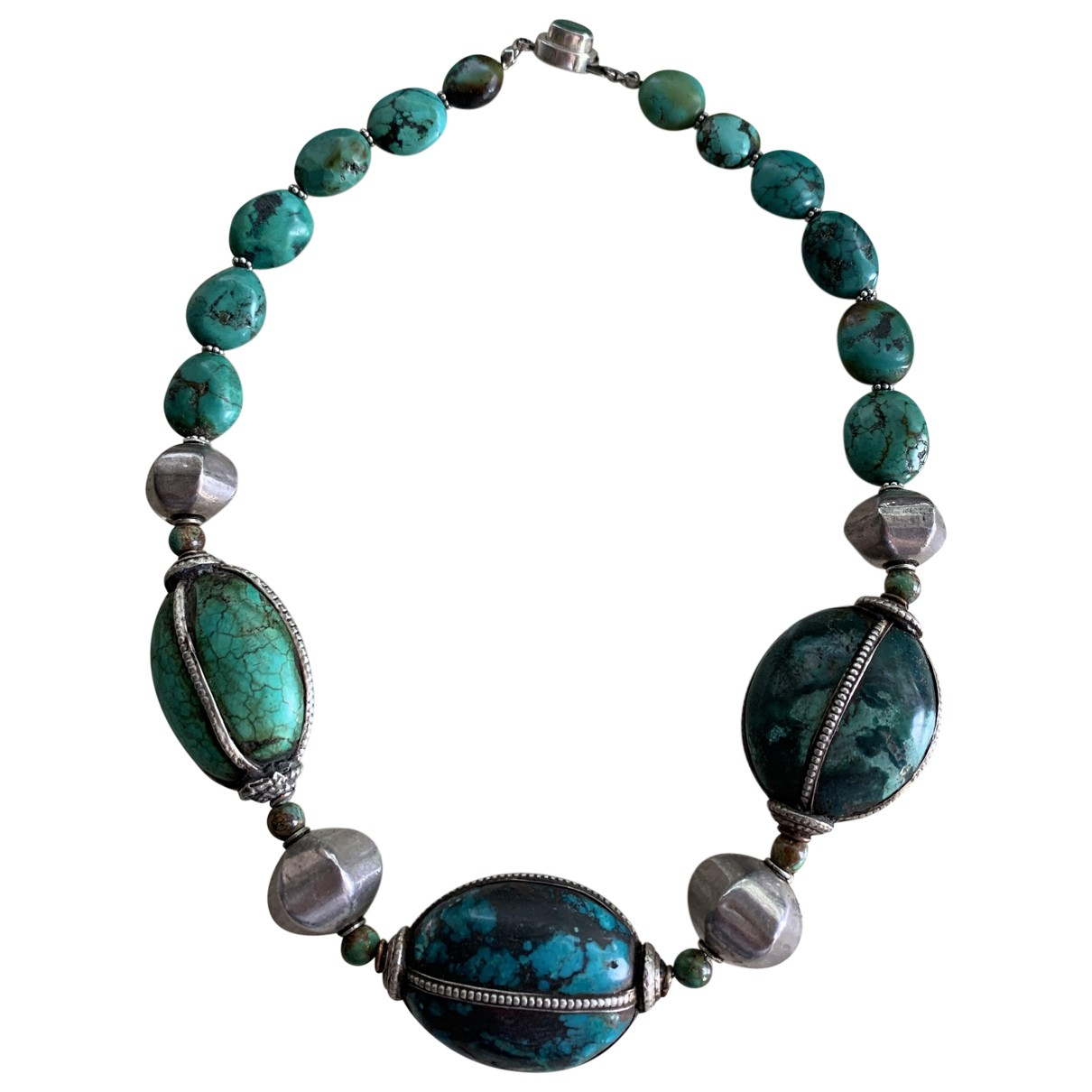 Non Signé / Unsigned Turquoises Green Silver necklace for Women \N