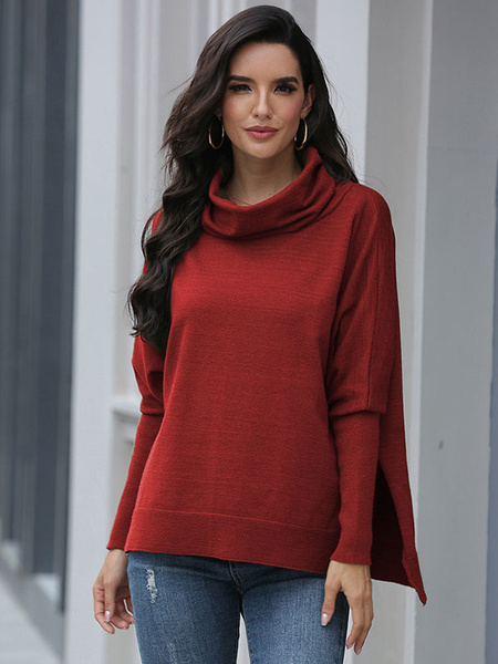 Milanoo Women Pillover Sweaters Red Split Front High Collar Long Sleeves Sweaters