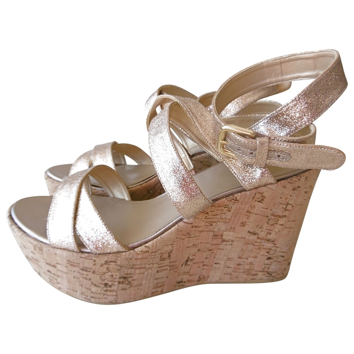Stuart Weitzman \N Gold Glitter Sandals for Women 37 EU