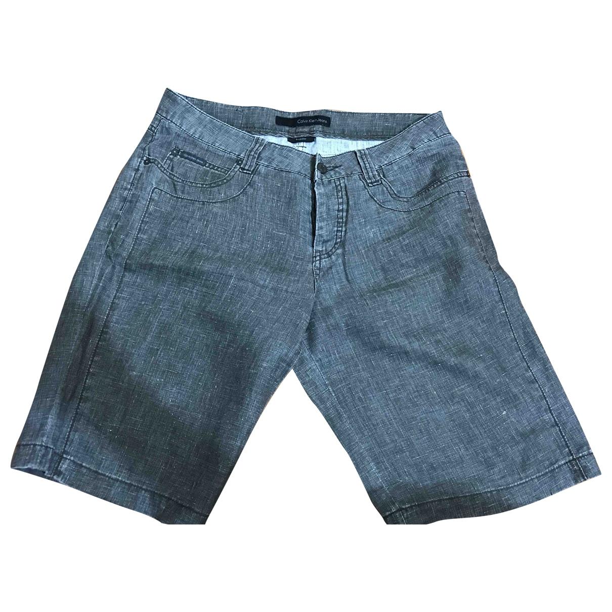 Calvin Klein \N Shorts in  Grau Leinen