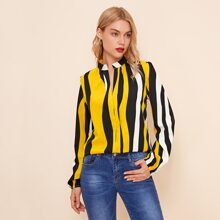 Notched Neck Graphic Print Blouse