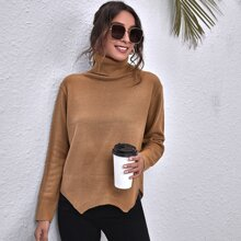 Turtleneck Cut-out Back Slit Hem Sweater