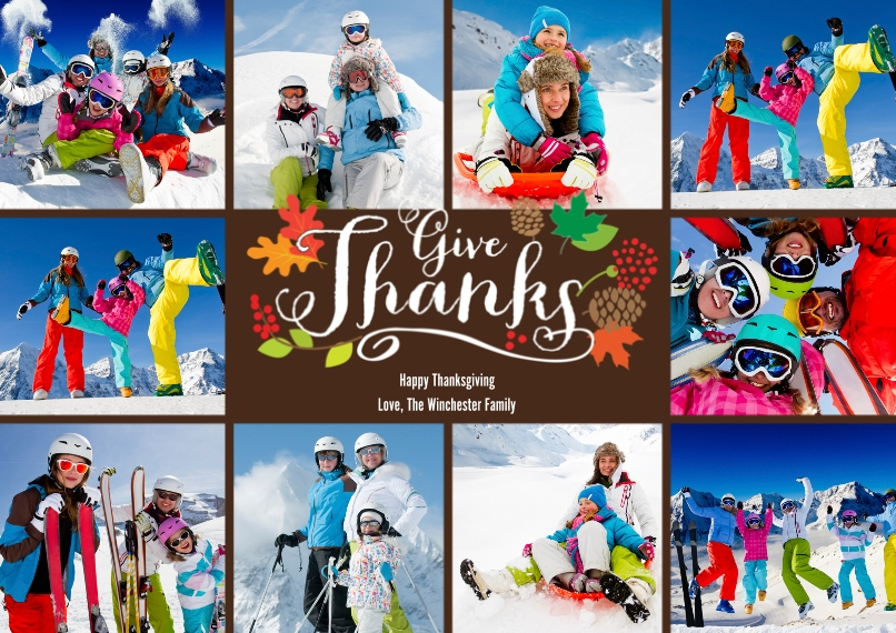 Thanksgiving Photo Cards 5x7 Cards, Standard Cardstock 85lb, Card & Stationery -Thanksgiving Give Thanks Collage