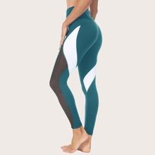 Queenieke leggings deportivos con puntada con malla de cintura ancha