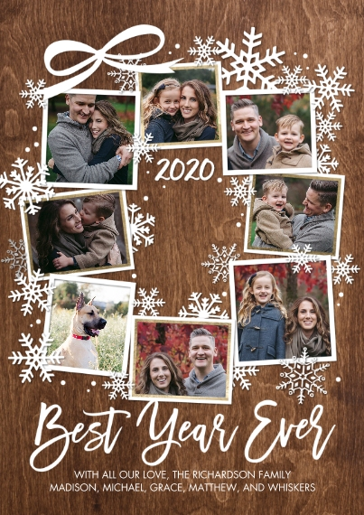 Christmas Photo Cards Flat Matte Photo Paper Cards with Envelopes, 5x7, Card & Stationery -2020 Best Year Snowflakes by Tumbalina