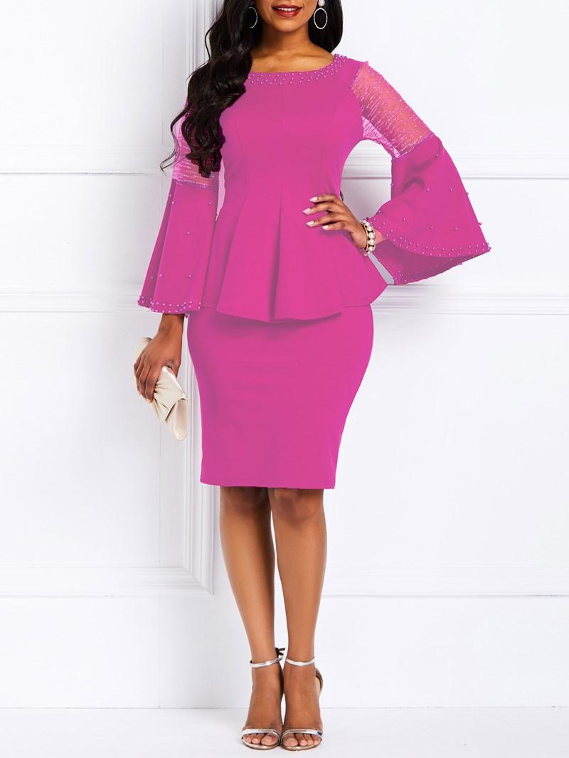 Ericdress Bead Elegant Patchwork Ruffle Sleeve T-Shirt and Skirt Women's Two Piece Sets