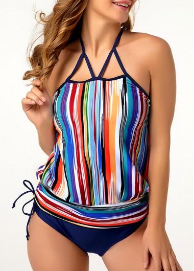 Tie Side Strappy Back Multicolor Striped Tankini Set - M