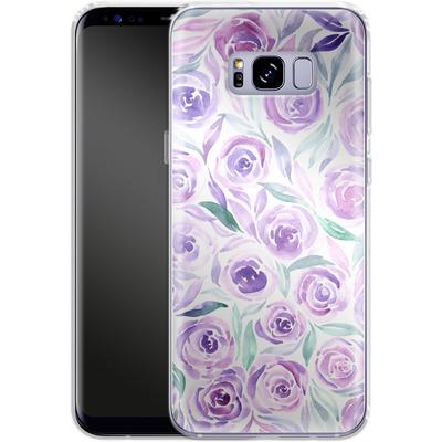 Samsung Galaxy S8 Plus Silikon Handyhuelle - Purple Rose Floral von Becky Starsmore