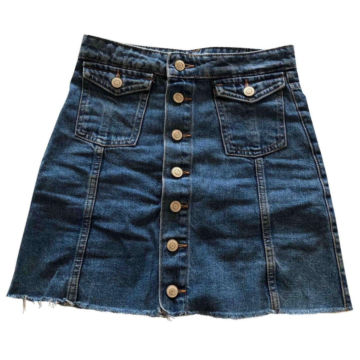 Zara - Jupe   pour femme en denim - bleu