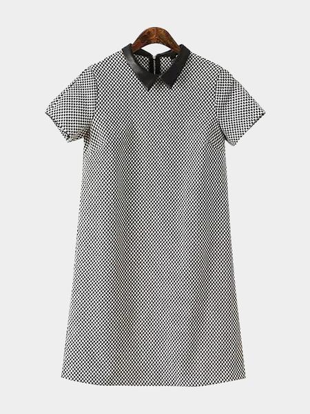 Yoins Grid Print Shirt Dress with Short Sleeves