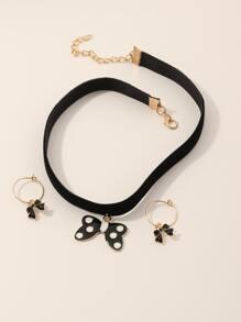 3pcs Girls Bow Decor Jewelry Set