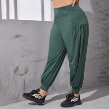 Plus Solid Plicated Sports Pants