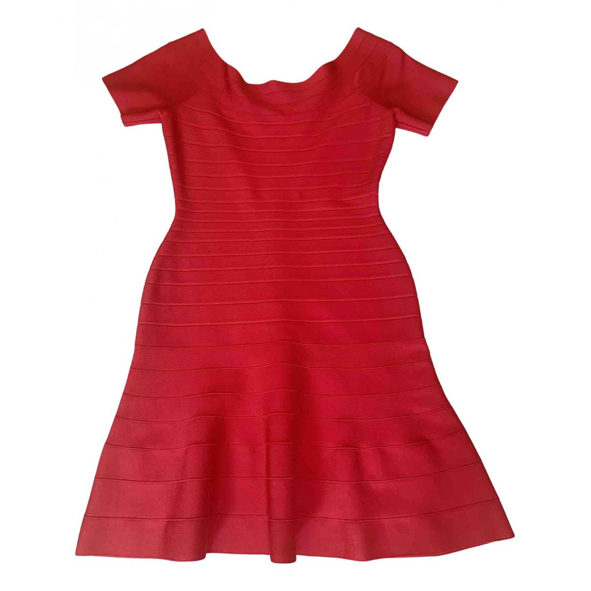 Herve Leger - Robe   pour femme en coton - elasthane - rose