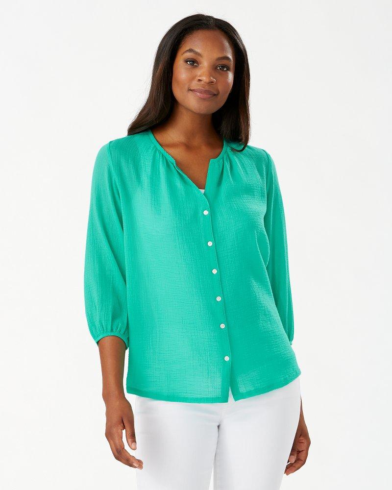 Lana Bay Gauze 3/4-Sleeve Top