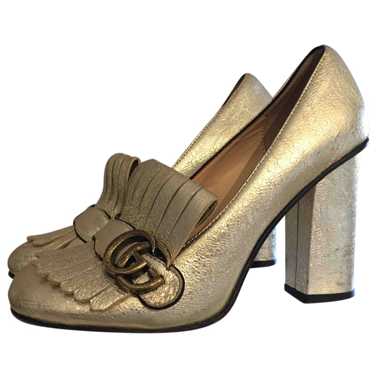 Gucci Marmont Gold Leather Heels for Women 39 IT