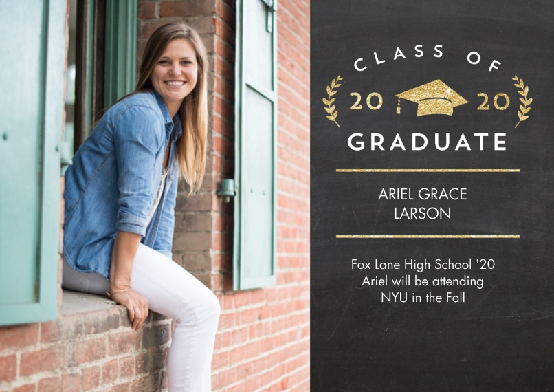 2020 Graduation Announcements 5x7 Cards, Premium Cardstock 120lb, Card & Stationery -2020 Grad Laurel by Tumbalina