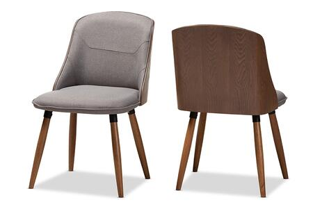 Arsanio Collection BBT5339-GREY-DC Set of 2 Dining Chairs with Mid-Century Modern  Foam Filled Cushion  Walnut Brown Rubberwood Legs and Polyester
