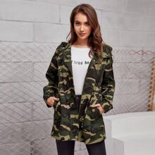Drop Shoulder Flap Slant Pocket Zipper Placket Hooded Camo Coat