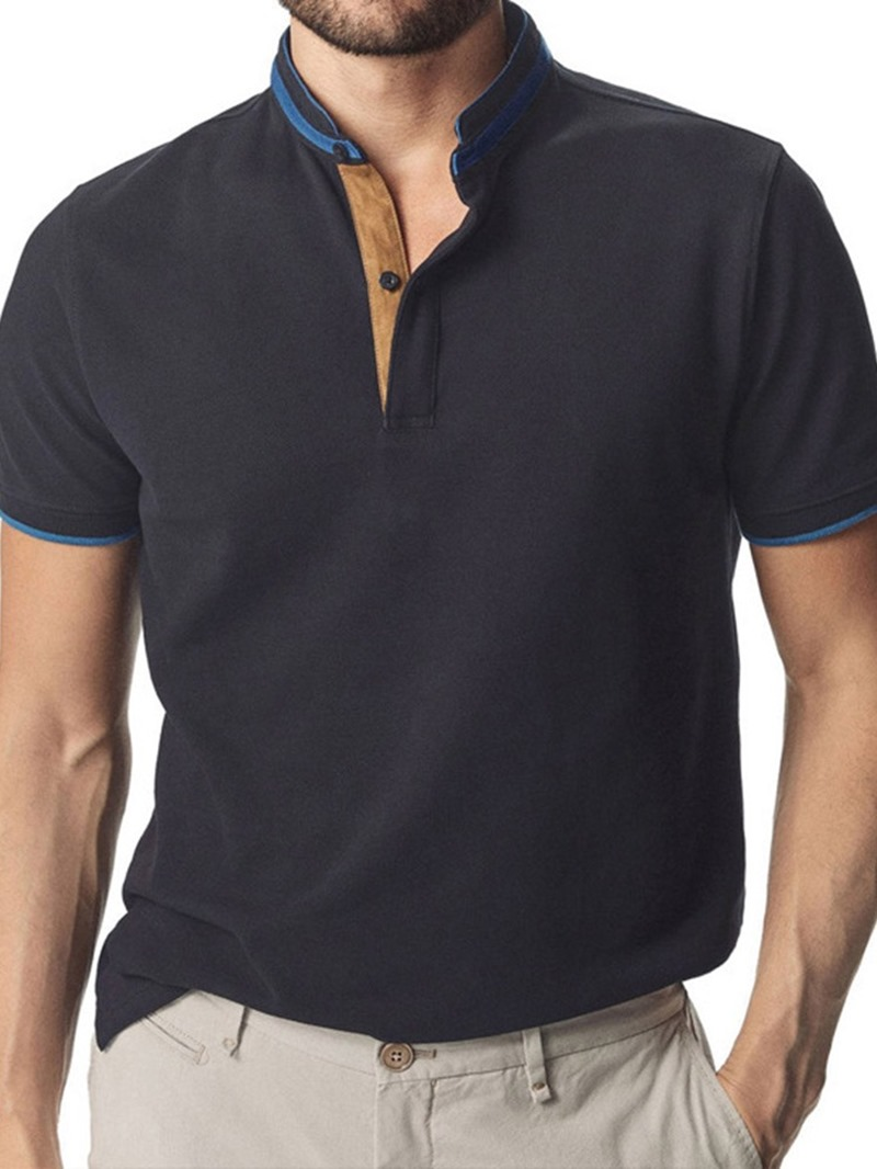 Ericdress Mens Solid Color Casual Polo Shirt