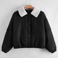 Plus Color Block Button Front Padded Jacket