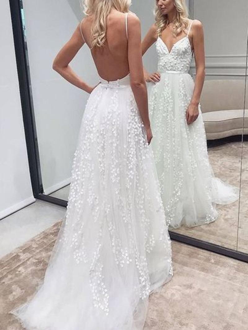 Ericdress A-Line Spaghetti Straps Backless Wedding Dress
