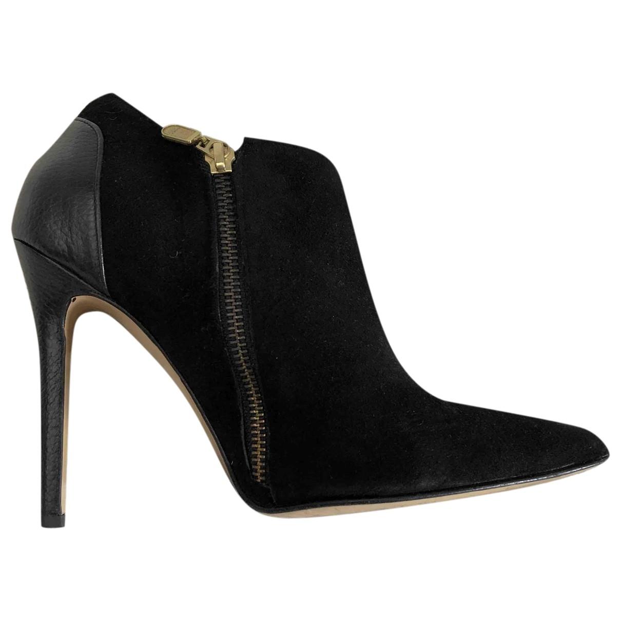 - Boots   pour femme en velours - noir