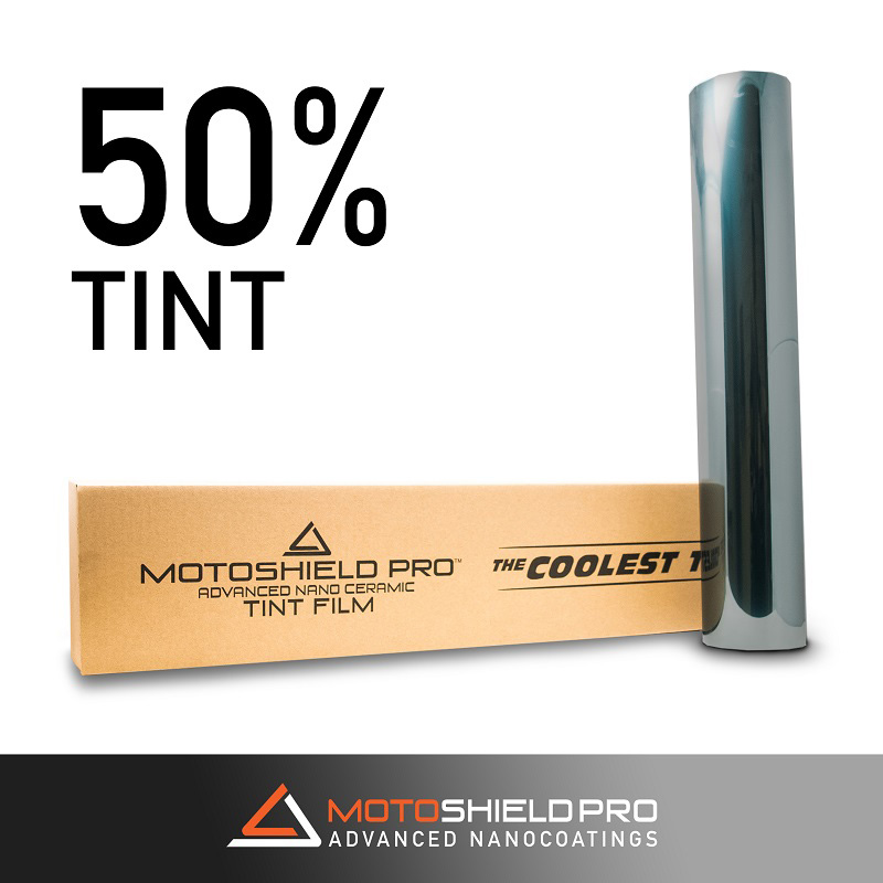 Window Tint 50 Percent Visibility 95 Percent IRR 100 Percent UV 20 Inch x 100 FT Roll Nano Ceramic 2 mm MotoShield Pro