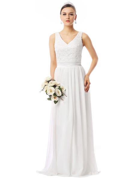 Milanoo Beach Wedding Dresses Lace Chiffon V Neck Sleeveless Floor Length Summer Bridal Dress
