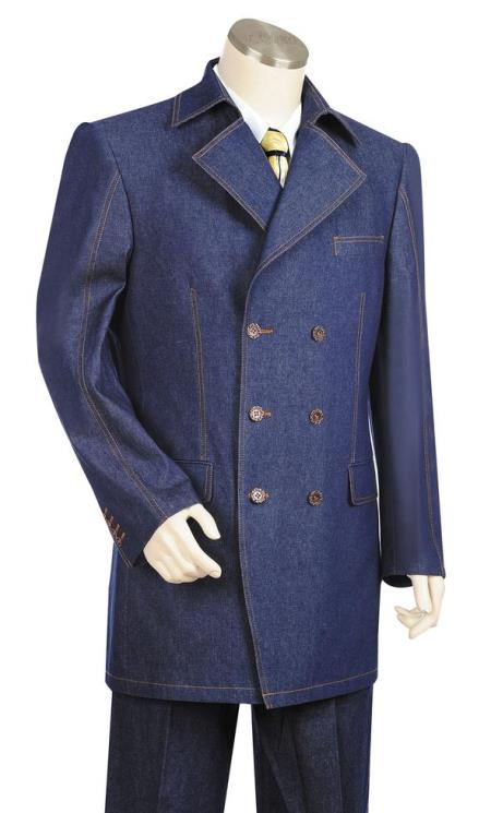 Mens Button Fastener Double Breasted Trench Collar Navy Blue Zoot Suit