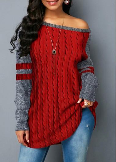Women'S Red Skew Neck Curved Hem Contrast Panel Twist Detail Sweatshirt Long Sleeve Tunic Casual Top By Rosewe - M