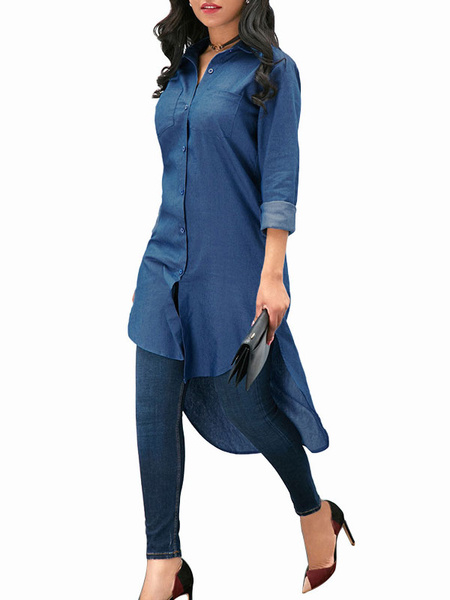 Milanoo High Low Shirt Blue Turndown Collar Casual Long Sleeves Tops