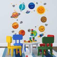 5pcs 1 Set Planet Print Wall Sticker