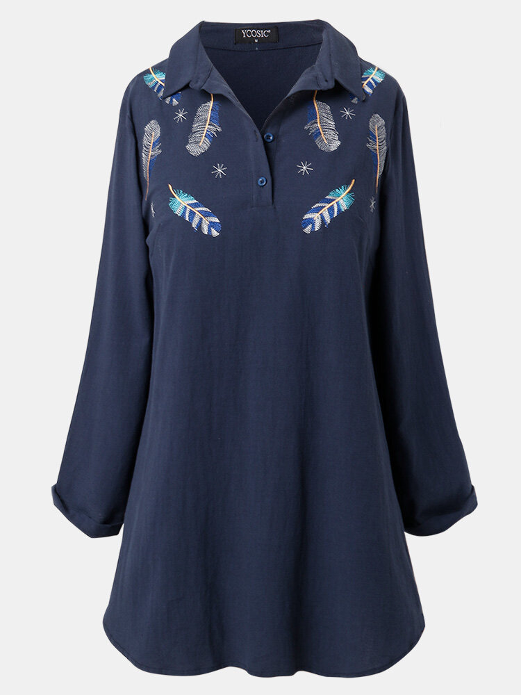 Vintage Feather Embroidery Lapel Collar Long Sleeve Blouse